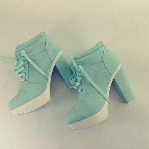 Womens Mint Green LaceUp High Heel Platform Boots